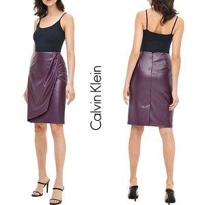 Calvin Klein • Faux Leather Wrap Pencil Skirt